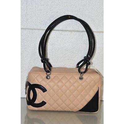 NEW CHANEL Cambon Ligne Tote Beige Black CC Leather Shoulder Bag Handbag Purse