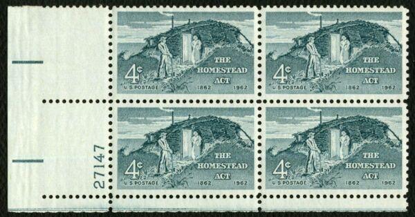 #1198 4c Homestead Act, Plaque Bloc [27147 Ll ], Excellent État Any 4 = Moderne Et EléGant à La Mode