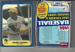 1986 Barry Bonds Fleer Update #U-14 Rookie Card + 1 Unopened 86 Fleer Cello Pack