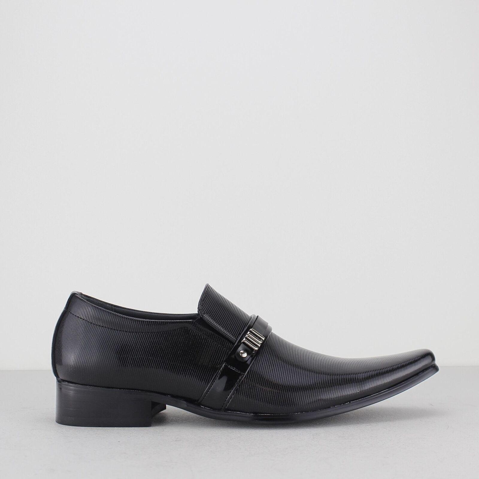 Mister Carlo DAUPHIN para hombre Inteligente Vestido Formal Noche antideslizante en mocasines zapatos Negro