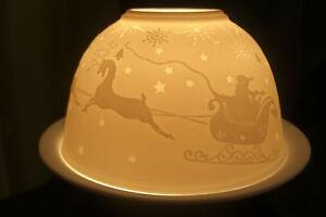 Dome-Light-034-Schlittenfahrt-034-Fein-Porzellan-Relief-Design-Teelichthalter