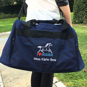 Personalised-I-LOVE-HORSES-Mini-Holdall-Travel-Bag-Name-Slogan-Equestrian-Riding