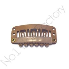 30 x Salon Grade Hair Extension Snap Clips for Wig Weft 32mm/3.2cm Tanned Brown