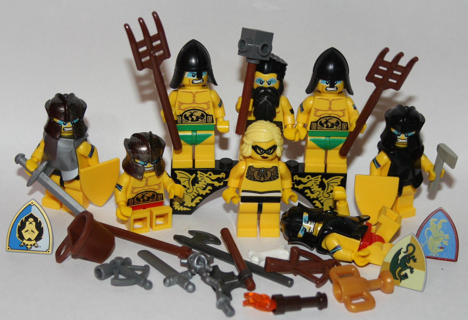 8 LEGO BARBARIANS ARMY + weapon - built using LEGO original parts ONLY