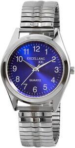 Excellanc-Herrenuhr-Blau-Silber-Analog-Metall-Zugband-Quarz-X2700014006