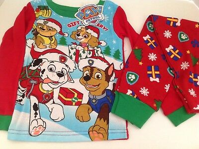 New Paw Patrol Christmas holiday Toddler boys pajamas 2t 3t 4t 5t chase and gang