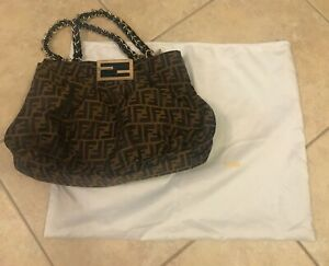 af0a01446a Image is loading Fendi-Monogram-Canvas-Zucca-Canvas-Mia-Large-Tote-
