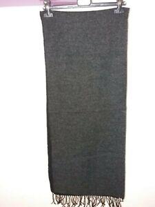 Sciarpa Singola Righe Larghe NERO-GRIGIO 100/% Lana Mer