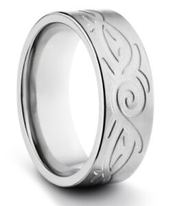 TungstenMasters 8MM//6MM Tungsten Mens//Womens Silver Celtic Wedding Band Ring