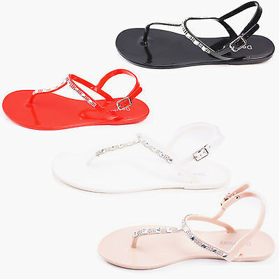 WOMENS LADIES RETRO FLAT JELLY BEACH SANDALS SUMMER GIRLS SHOES Size 4 5 6 7