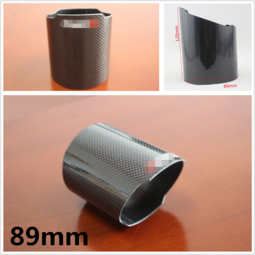 Car Universal 89mm Real Carbon Fiber Exhaust Muffler Pipe Tip Cover Accessories