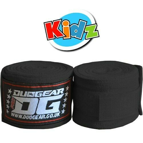 KIDS YOUTH JUNIOR BLACK PAIR OF WRAPS FOR MUAY THAI TRAINING AND FIGHTING 1.5m