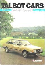 Talbot coches Feb 1982 HORIZON ALPINE SOLARA Matra Original Reino Unido Folleto no. C9622