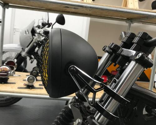 Phare pour Triumph Cafe Racer Scrambler Noir Grille Maille Jaune Lentilles 55w