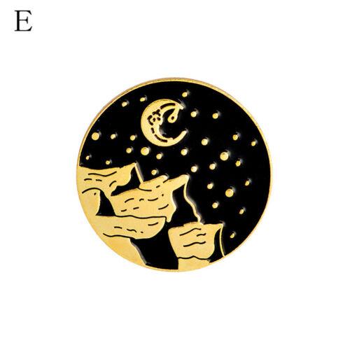 1XDark Moon Star Mountain Hand Badges Gothic Design Enamel Brooches Pins BlackTC