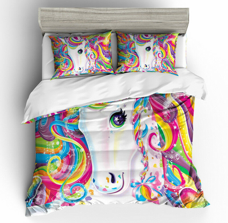 3D Multi-colord Unicorn Kids Duvet Cover Bedding Set Pillowcase Comforter Cover