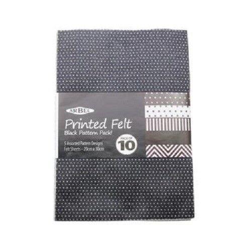 Arbee Felt Sheet 10 Pack Assorted Pattern Designs 20cm x 30cm
