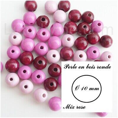 Lot de 50 Perles rondes en Bois 10mm Rouge