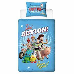 Toy-Story-4-Rescue-Panneau-Set-Housse-de-Couette-Simple-Buzz-Woody