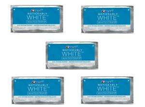 5 CREST NOTICEABLY WHITE Whitestrips Teeth Whitening Strips Dental