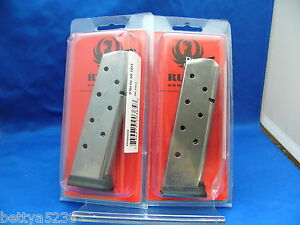 TWO-Ruger-Factory-Magazine-Mag-SR1911-SR-1911-45-45-Auto-ACP-8-Round-90365