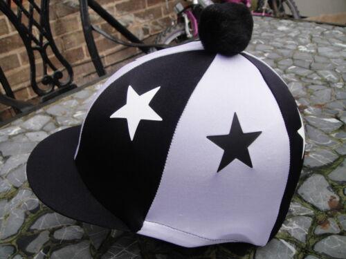 Lycra Équitation Chapeau soie tête Cap couverture Noir /& Blanc Stars avec ou sans pompon