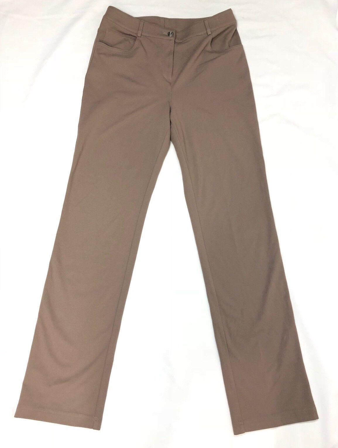 St. John Women Taupe Flat Front Pants Size 6 (30x33) Excellent