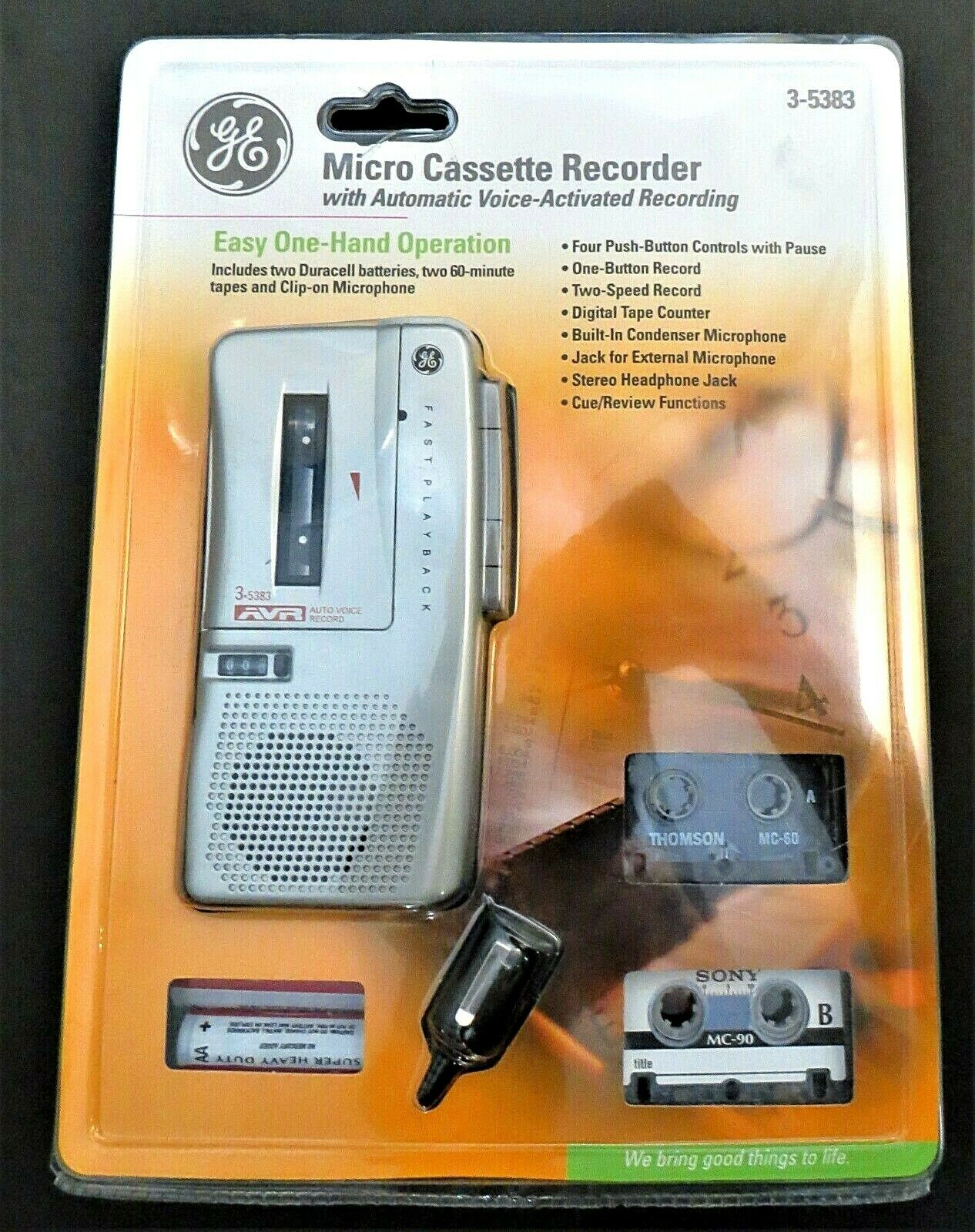 Model 3-5380s GE Automatic Voice Activated Microcassette Recorder