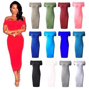Ladies-Off-Shoulder-Midi-Dress-Womens-Bar-dot-Bodycon-Cap-Sleeve-midi-size-8-22