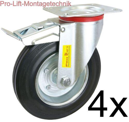 4x gebremste Lenkrollen 4 x 210kg Kapazität Schwerlastrollen Gummireifen  01354