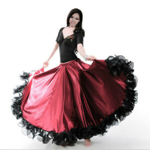 Spanish-Flamenco-Modern-Dance-Swing-Skirt-Ruffle-Elastic-Waist-Ballroom-Wear-Red