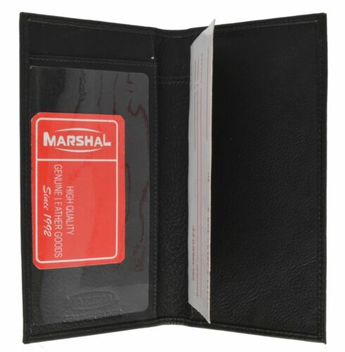 Men/'s Premium Leather Checkbook Cover Bifold Wallet by Marshal