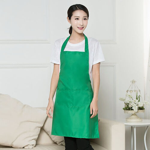 US NEW PLAIN APRON WITH FRONT POCKET CHEFS BUTCHERS KITCHEN COOKING CRAFT BAKING
