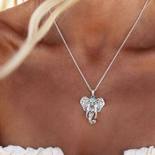 Fashion Vintage Silver Elephant Pendant Chain Choker Charm Necklace Boho Jewelry