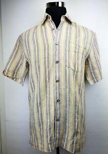 2bead6a12b CUBAVERA Men s Shirt Linen Short Sleeve Button Front Striped Design ...