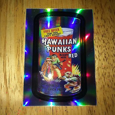 2014 WACKY PACKAGES CHROME REFRACTOR CARD HAWAIIAN PUNKS MOBSTERS GOONS 94 RED