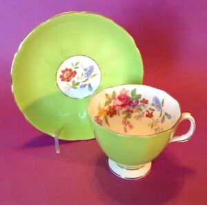 Adderley-Pedestal-Teacup-And-Saucer-Green-With-Flowers-Bone-China-England