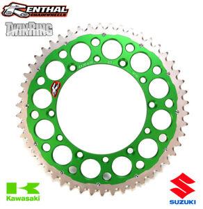 Renthal-Twinring-Rear-Sprocket-Kawasaki-KX-KXF-KDX-KLX-Suzuki-RMZ-50T-Green