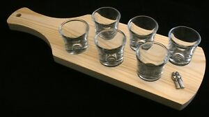 Gemini Symbol Set of 6 Shot Glasses with Wooden Paddle Tray Holder zBdfqUP3-09102423-501214518