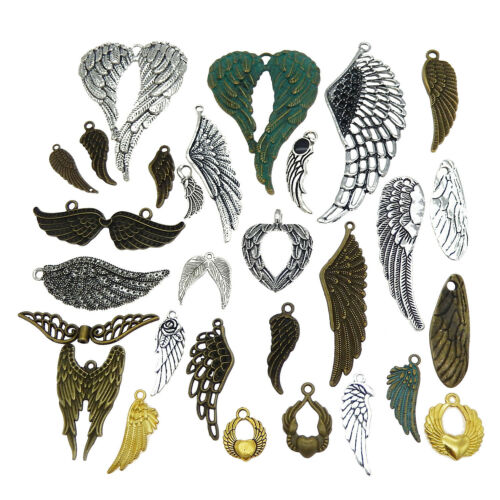 15pcs Mixed Kinds Vintage Alloy Pendants Wing Shaped 10-85mm Jewelry Crafts