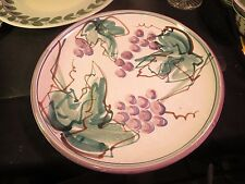 """Large 13"""" Hand Painted Pottery Charger Grapes & Leaves Wanita Parrot"""