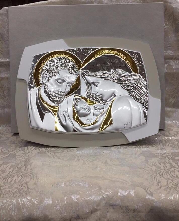 ART. REGALO SACRA FAMIGLIA IN PVD BIANCO TORTORA COD. E5001 2