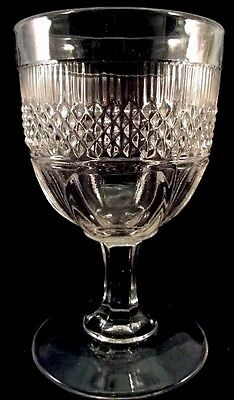Manting Goblet Clear Flint Pattern Glass Unknown 1860s Flute With Diamond Band