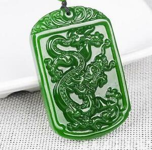 2018 new china hand carved green jade dragon jade pendant necklace image is loading 2018 new china hand carved green jade dragon aloadofball Images