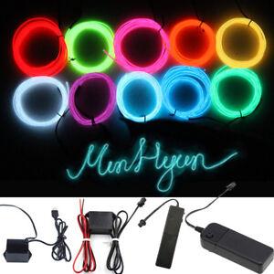 LED-Luz-de-Neon-Coche-Baile-Fiesta-el-alambre-cuerda-Tira-Cuerda-controlador-3V-12V-USB