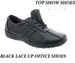 NEW-LADIES-SCHOOL-SHOES-PUMPS-OFFICE-LACE-UP-FLAT-BLACK-CASUAL-CUSHION-FIT-SIZES
