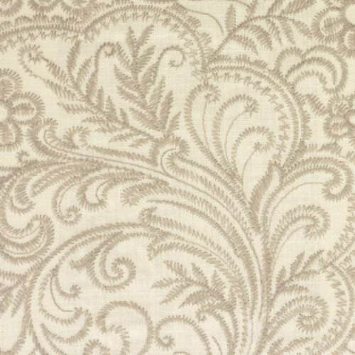Voyage Decoration Elwood Pearl Embroidered Upholstery Linen Fabric Per Meter