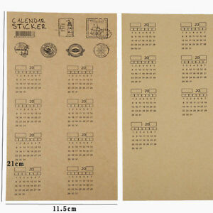 4-Sheets-Kraft-Paper-Handwritten-Calendar-Notebook-Label-Index-Sticker-T