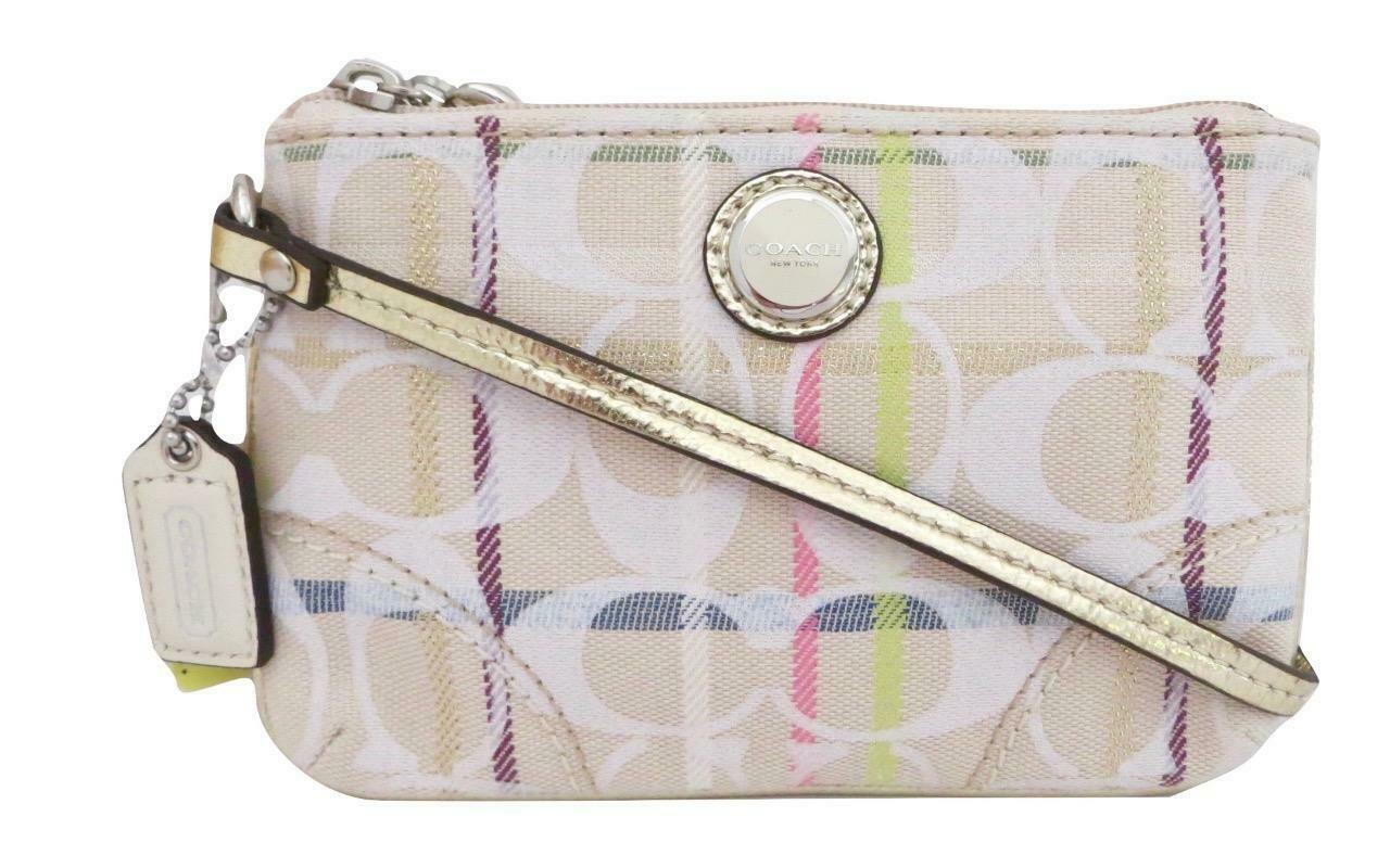 New Coach Poppy Ivory Tattersall Multicolor Signature & Leather Wristlet 47909