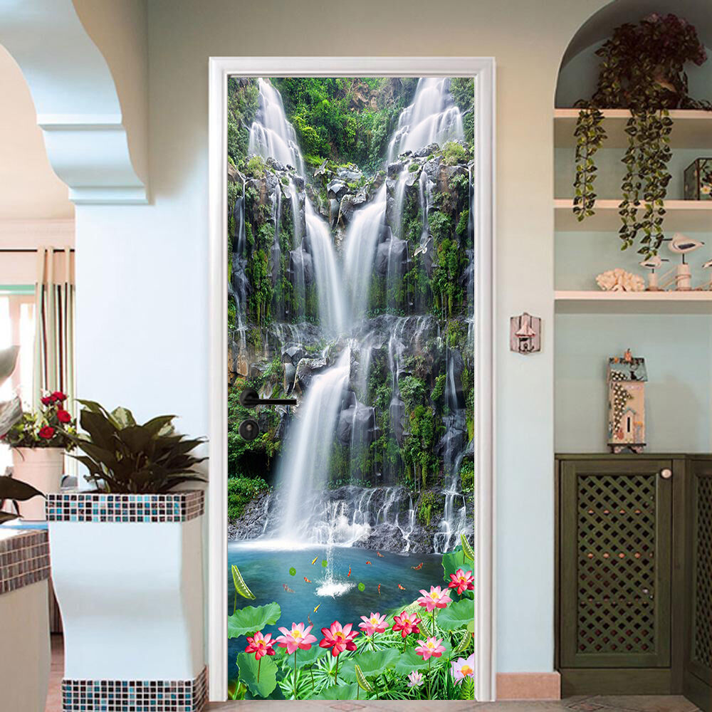 3D Wasserfall 65 Tür Mauer Wandgemälde Foto Wandaufkleber AJ WALL DE Lemon